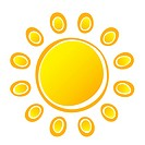Vector Suns on White Background