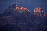 View from Bright Angel Point, last light of the day on Zoroaster Temple, Brahma Temple, evening mood, Grand Canyon National Park, North Rim, Arizona, ...