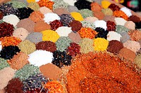 Assortment of ground spices in the market