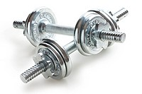 chrome dumbells on white background