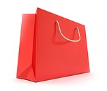 Red Shopping Bag. Clean cover . Isolated on white. 3d image