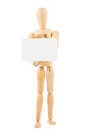 wooden dummy holding empty white blank card for your text