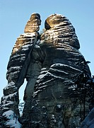 Man and woman silhouette in Rock Town, Czech Republic