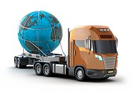 Modern truck transporting the globe isolated on white. My own design