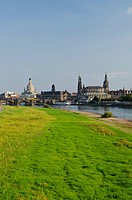The historic part of the city, situated on the river Elbe, seen from Marienbruecke bridge, Dresden, Saxony, Germany, Europe