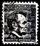 UNITED STATES OF AMERICA _ CIRCA 1966: A stamp printed in the USA shows image of President Abraham Lincoln, circa 1966