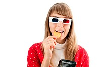 beautiful young woman in 3d glasses isolated on white background watching film and eating chips