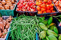 variety of fresh vegetables in market closeup background , Asia , Thailand