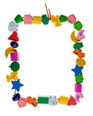 Colorful wooden toy bead frame on white background