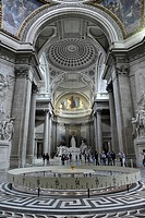 Interior, National Hall of Fame Panthéon with Foucault´s Pendulum for the empirical proof of the Earth´s rotation, Montagne Sainte_Genevieve, Paris, F...