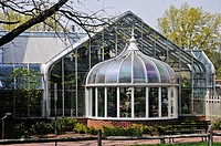 A miniature greenhouse in Peddler's Village, Lahaska, Bucks County, PA, USA