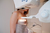 Model. Medical imaging center in Paris, France. Mammography.