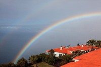 double rainbow above the Atlantic Ocean at the resort Jardim Atlantico, Prazeres, Madeira, Portugal, Europe