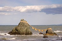 Meoto-Iwa, Wedded Rocks off the coast of Futamigaura Beach, Futami Town on the in Mie Prefecture, Japan