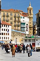 Citizens walk at San Sebastian old town, Basque Country, Spain