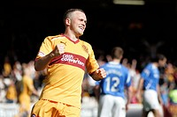 28 04 2012 Motherwell, Scotland Motherwell v St Johnstone 4 Nicky Law celebrates goal during the Scottish Premier League game played at Fir Park Stadi...