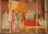 Stories of St Francis The Recovery of the Wounded Man of Lerida, by Giotto, 1297 _ 1300, 13th Century, fresco, cm 270 x 230. Italy, Umbria, Perugia, A...