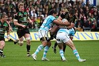 05 05 2012 Northampton, England Rugby Union Northampton Saints v Worcester Warriors James DOWNEY of Northampton Saints is tackled by Alex GROVE of Wor...