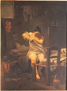 The Flea, by Giuseppe Maria Crespi know as Spagnuolo or Spagnolo, 1710 _ 1730, 18th Century, oil on canvas, cm 46,5 x 34. Italy, Tuscany, Florence, Uf...