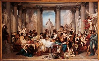 Romans of the Decadence, by Thomas Couture, 1847, 19th Century, oil on canvas, cm 466 x 775. France, Ile de France, Paris, Muse dOrsay. All. Men women...