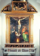 The Crucifixion, by Dirk Hendricksz known as Teodoro dErrico, 16th Century, oil on canvas. Italy, Campania, Naples, Resina, Santa Maria di Pugliano Sa...