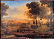 Landscape with Ruins and Pilgrims, by Rosa Mezzera, 1810, 19th Century, oil on canvas, cm 100 x 133 . Italy, Lombardy, Milan, Brera Academy of Fine Ar...