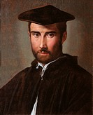 Portrait of a Man Portrait of a Clergyman, by Francesco Mazzola known as Parmigianino, 1526 about, 16th Century, oil on panel, cm 52 x 42. Italy, Lazi...