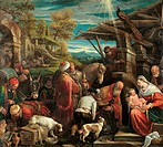 Adoration of the Magi, by Jacopo Da Ponte known as Bassano, 1576 _ 1580 about, 16th Century, oil on canvas, cm 126 x 140. Italy, Lazio, Rome, Borghese...