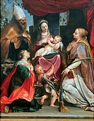 Madonna with Child and Young St John, St Benedict probably, St Margaret and St Cecilia, by Agostino Carracci, 1586, 16th Century, oil on canvas, cm 15...