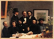 Table Corner Coin de table. From the left Paul Verlaine, Arthur Rimbaud, Elzar Bonnier, Lon Valade, Emile Blmont, Jean Aicart, Ernest dHervilly, Camil...