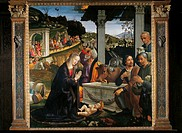 Adoration of the Shepherds, by Domenico Bigordi known as Ghirlandaio, 1485, 15th Century, panel, cm 167 x 167. Italy, Tuscany, Florence, Santa Trinita...