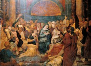Pentecost, by Wobreck Simon de, 16th Century, canvas carried on board. Italy, Sicily, Palermo, Palazzo Abatellis, Sicilian Regional Art Gallery. All. ...