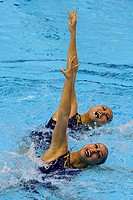 18 04 2012 London, England Katrina Ann Abdul Hadi and Hui Chuen Png MAL in action during the Duets Technical Routine on Day 1 of the FINA Olympic Game...
