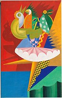 Rotation of Dancer and Parrots, by Fortunato Depero, 1917 _ 1918, 20th Century, cm 140,5 x 89,5. Italy, Trentino Alto Adige, Trento, Rovereto, MART, d...