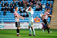 21 04 2012 Coventry, England Coventry City v Doncaster Rovers Jordan Clarke Coventry City rues a near miss during the NPower Championship game played ...