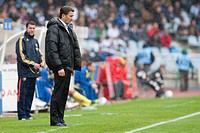 22 04 2012 Zaragoza, Spain Real Sociedad 1 _ 1 Villarreal Real Sociedad´s coach Philippe Montanier during the Spanish League match played between Real...