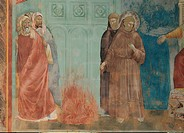 St Francis before the Sultan Trial by Fire, by Giotto, 1297 _ 1300, 13th Century, fresco, cm 270 x 230. Italy, Umbria, Perugia, Assisi, Upper Basilica...