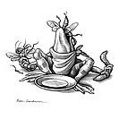 Greedy frog, conceptual artwork.