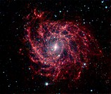 IC 342 spiral galaxy, infrared image. This galaxy is 10.7 million light years from Earth, in the constellation of Camelopardalis. This image was obtai...