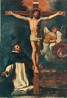 Crucifix and St. Peter Martyr, by Barbieri Giovan Francesco known as il Guercino, 17th Century, oil on canvas. Italy, Emilia Romagna, Bologna, Nationa...