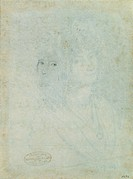 Sketch of Female Head, by De Superville Pierre David Humbert, 18th Century _19th Century, 1770 _1849, black pencil, white paper, mm 231 x 171. Italy, ...