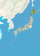 Satellite view of Japan with bump effect, showing the region of Hokkaido. This image was compiled from data acquired by LANDSAT 5 & 7 satellites combi...