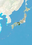Satellite view of Japan with bump effect, showing the region of Kansai. This image was compiled from data acquired by LANDSAT 5 & 7 satellites combine...