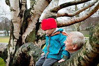 Granfather and boy sitting on tree branch