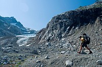 Male climber near Chickamin Glacier, Ptarmigan Traverse, North Cascades, Washington USA