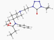 Alfentanil, molecular model. Synthetic opioid analgesic drug used for anaesthesia in surgery. Atoms are represented as spheres and are colour_coded: c...