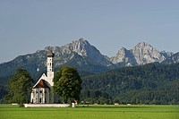 Church of St Coloman, Tannheim Mountains at the back, near Fuessen, Allgaeu region, Bavaria, Germany, Europe