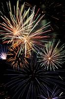Fireworks, Pyro Games festival, Ferropolis, Graefenhainichen, Saxony-Anhalt, Germany, Europe