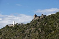 Legend of the Enemy Brothers, Burg Sterrenberg Castle, left, and Burg Liebenstein Castle, above the Middle Rhine Valley in Kamp_Bornhofen, Rhineland_P...