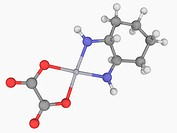 Oxaliplatin, molecular model. Platinum_based drug used in cancer chemotherapy. Atoms are represented as spheres and are colour_coded: carbon grey, pla...